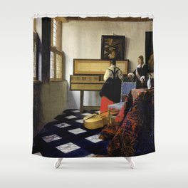 Johannes Vermeer  - The Music Lesson Shower Curtain