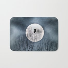 Night Raven Lit By The Full Moon Bath Mat