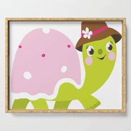 Beautiful kids and baby Drawing Turtle Serving Tray