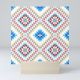 Colorful patchwork mosaic oriental kilim rug with traditional folk geometric ornament Mini Art Print