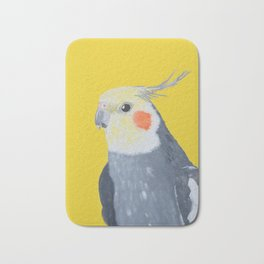 Cockatiel paintig, Bird art, Yellow wall art Bath Mat