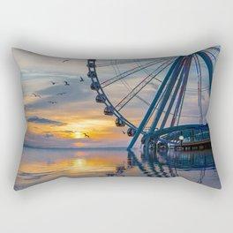 Great Wheel at Sunset with Birds Rectangular Pillow