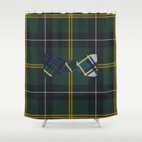 plaid Shower Curtains featuring Plaid on Plaid by Jessica
