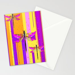Purple-fuchsia  Dragonflies  Dreamscape Absract Stationery Cards