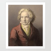 beethoven Art Prints featuring Beethoven by Palazzo Art Gallery