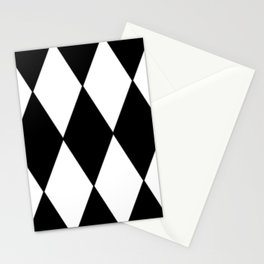 LARGE BLACK AND WHITE HARLEQUIN DIAMOND PATTERN Stationery Cards
