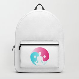 Young girl practice yoga at front of Yin-Yang sign Backpack