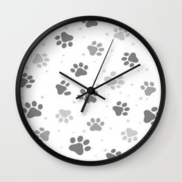 Black, White and Grey Cute Dog Paws Print. Wall Clock