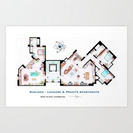 Sheldon, Leonard and Penny Apartment form TBBT Art Print