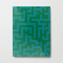 Teal Green and Cadmium Green Labyrinth Metal Print