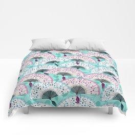 Oriental Hand Fan Pattern Comforters