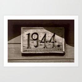 1944 Aged Sepia Sign Art Print