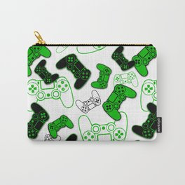 Video Games Green on White Carry-All Pouch