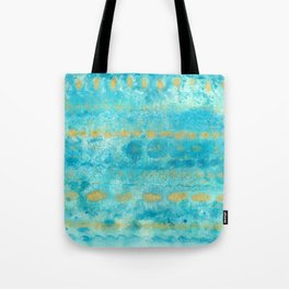 Gold in Deep Turquoise watercolor art Tote Bag