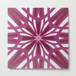Rosy Wildflower Villa Garden Pattern Metal Print