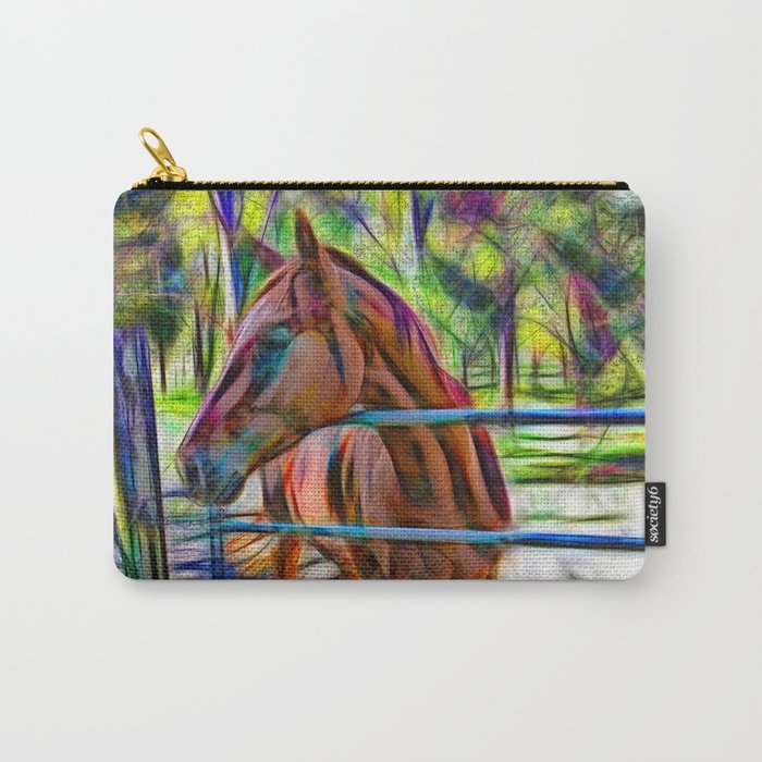 Abstract horse standing at gate Carry-All Pouch