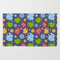 bunnies Area & Throw Rugs featuring Colorful bunnies by LaDa
