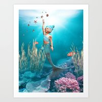 the little mermaid Art Prints featuring Little Mermaid by Simone Gatterwe