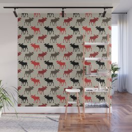 Bull Moose Pattern Wall Mural