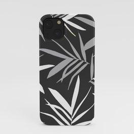 Black. grey. white. Leaves pattern. iPhone Case