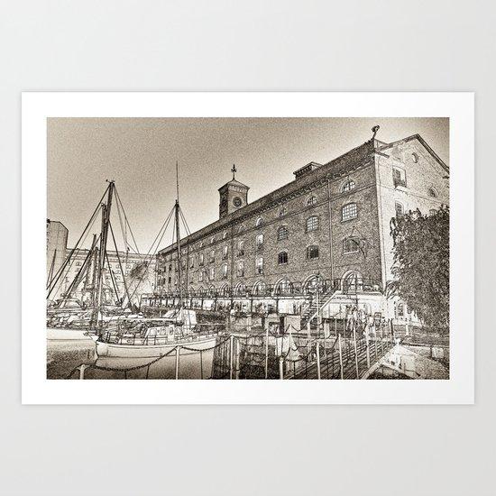 St Katherine's Dock London sketch Art Print