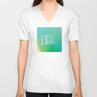 bed V-neck T-shirts featuring bed by XiXi