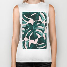 Tropical Monstera Leaves Dream #1 #tropical #decor #art #society6 Biker Tank