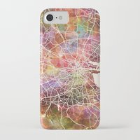 dublin iPhone & iPod Cases featuring Dublin map by MapMapMaps.Watercolors
