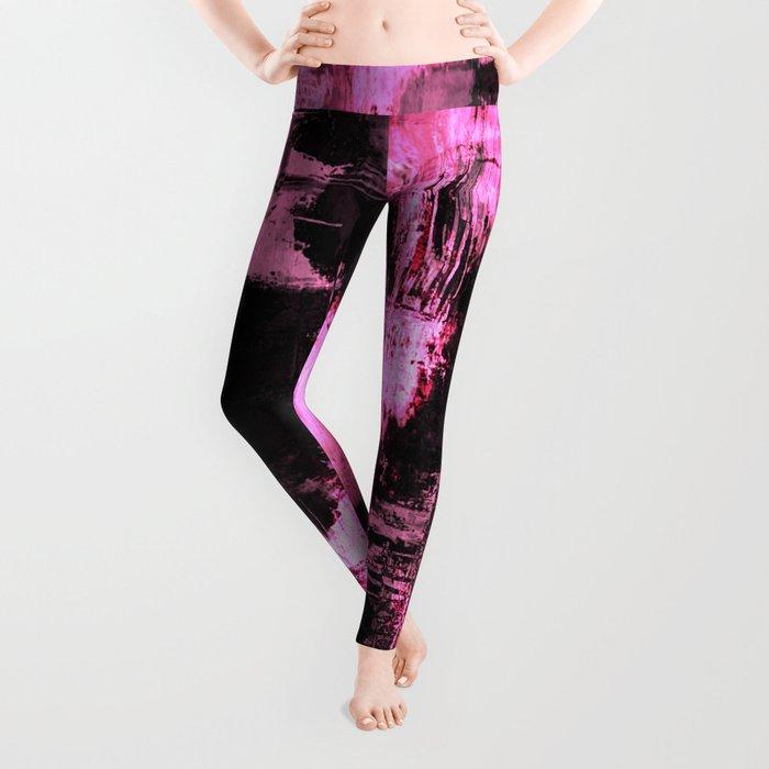 Harsh Pink - Neon Pink Abstract Leggings
