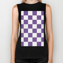 Large Checkered - White and Dark Lavender Violet Biker Tank