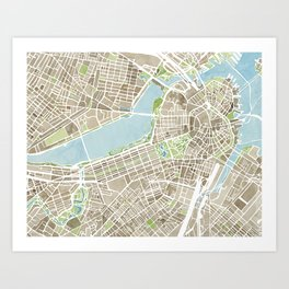 Boston Sepia Watercolor Map Art Print