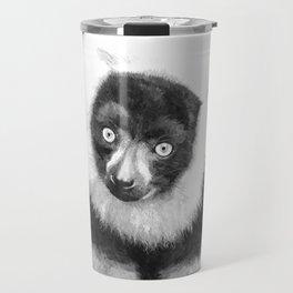 Black and white lemur animal portrait Travel Mug