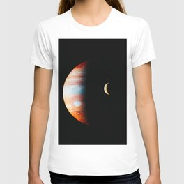 Jupiter And Its Volcanic Moon Io, Galaxy Background, Universe Large Print, Space Wall Art Decor T-shirt