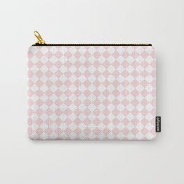 Small Diamonds - White and Light Pink Carry-All Pouch