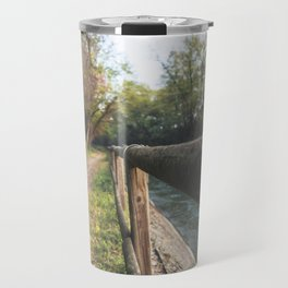 Irrigation ditch in the Ticino river natural park during winter before sunset Travel Mug