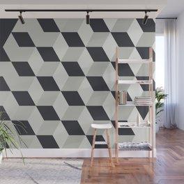 Gradient Cubes – Ebony Black / Warm Gray Abstract Print Wall Mural