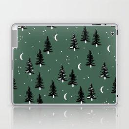 Christmas universe pine tree forest night Stars Moon Green Laptop & iPad Skin
