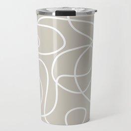 Doodle Line Art | White Lines on Warm Gray Travel Mug