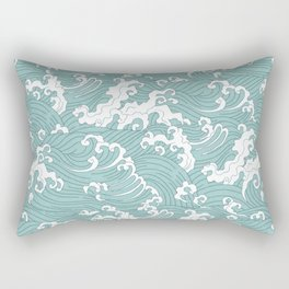 Traditional Hand Drawn Japanese Wave Ink Rectangular Pillow