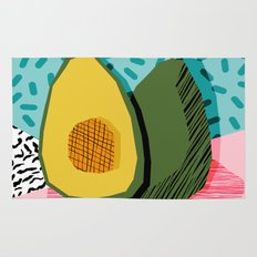 Choice - wacka memphis throwback retro neon fruit avocado vegetable vegan vegetarian art decor Rug