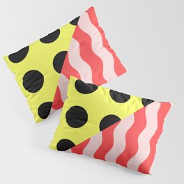 Polka Waves - black and yellow polka dots and red and pink waves Pillow Sham