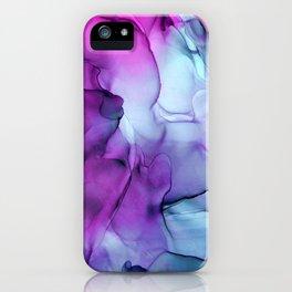 Abstract Mermaid Magenta Indigo Blue Ink Painting iPhone Case