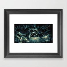 Godzilla vs Kingkong Blue Yellow Framed Art Print
