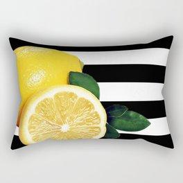 Lemon Slice Black & White Horizontal Stripes Rectangular Pillow