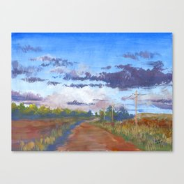 Road Between Fields Canvas Print