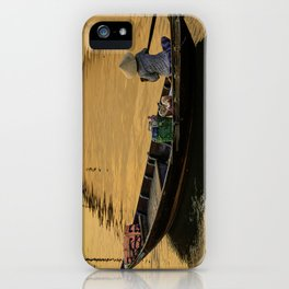 Boat on the River at Sunset iPhone Case