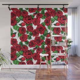 Red roses pattern Wall Mural