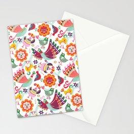 scandinavian folkart birdies | white Stationery Cards