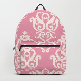 Romantic Pink and White Damask Pattern Backpack