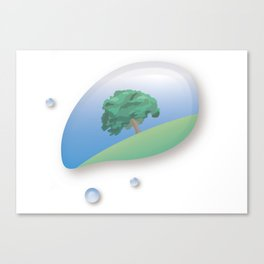 a tree reflected in a drop of water Canvas Print